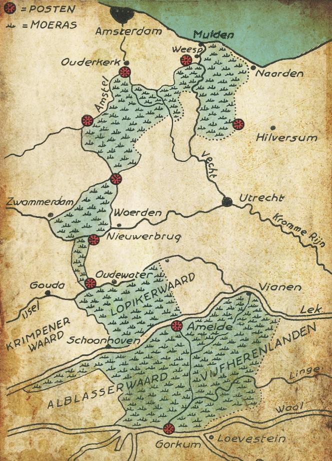 Kaart van de Oude Hollandse Waterlinie