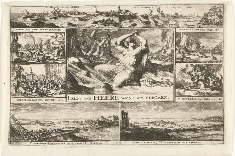 Noodweer van 1674, in verband gebracht met de oorlog en binnenlandse onlusten