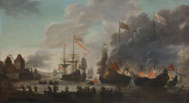 Schepen van de Engelsen worden in brand gestoken tijdens de Tocht naar Chatham (20 juni 1667)