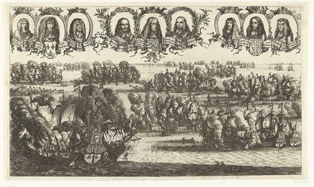 Gravure van de Zeeslagen bij Schooneveld (7 en 14 juni 1673)