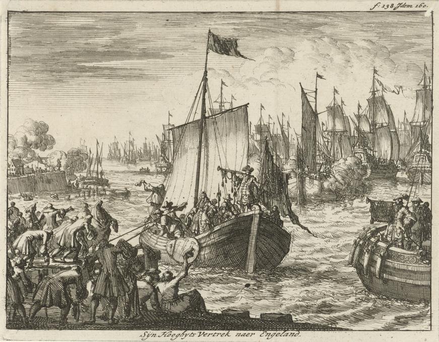 Willem III vertrekt met de vloot naar Engeland.