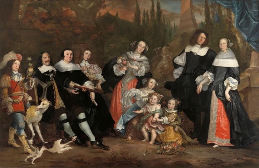Michiel de Ruyter met zijn familie.