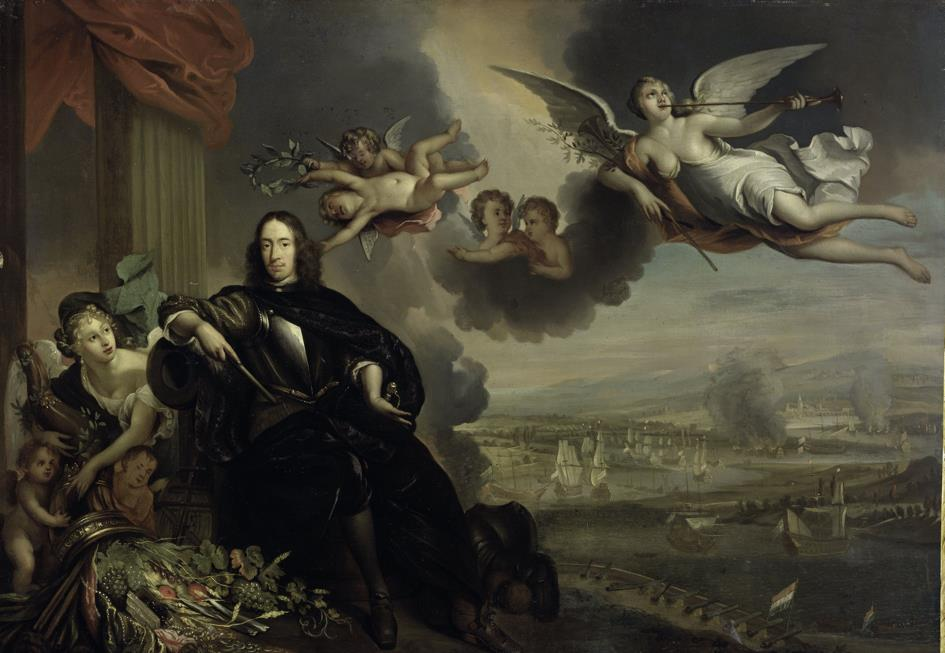 Verheerlijking van Cornelis de Witt. Op de achtergrond is de Tocht naar Chatham te zien.