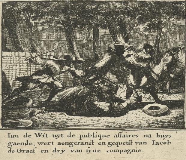 Johan de Witt wordt op straat aangevallen door een groep gewapende mannen.
