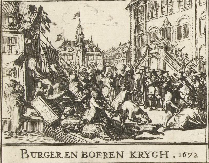 Woedende burgers plunderen regentenhuizen