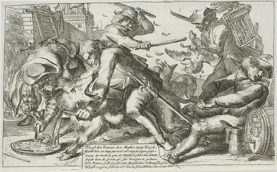 Spotprent op Mûnster (zwijn), Keulen (wolf) en Frankrijk (haan). Gemaakt nadat Engeland vrede had gesloten met de Republiek (1674).