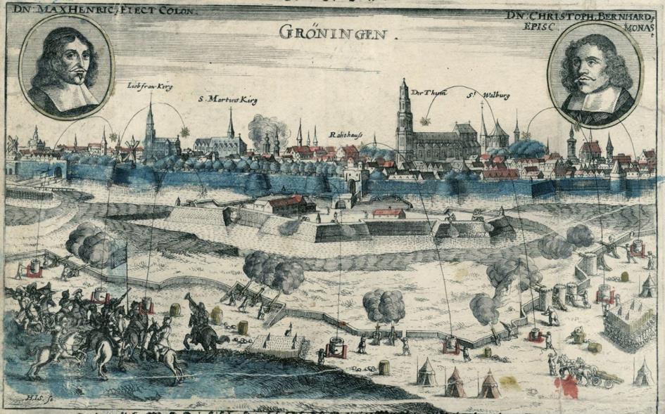 Duitse prent van het beleg van Groningen