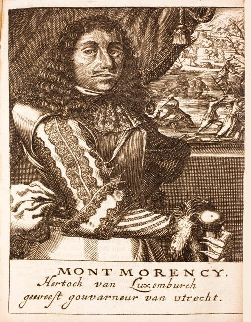 Portret van François Henri de Montmorency-Bouteville (Luxembourg). Op de achtergrond is het bloedbad te Bodegraven/Zwammerdam te zien, waarvoor Luxembourg verantwoordelijk wordt gehouden.