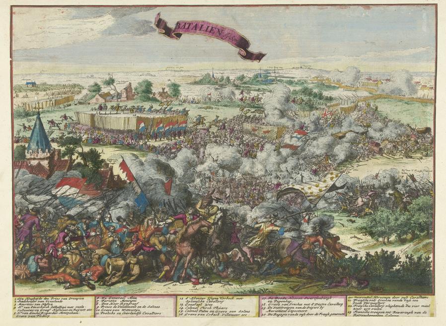 Ingekleurde prent van de Slag bij Seneffe (1674). Jacobus Harrewijn