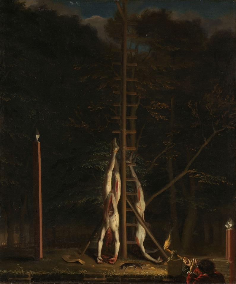 De lijken van de gebroeders De Witt op het Groene Zoodje in Den Haag